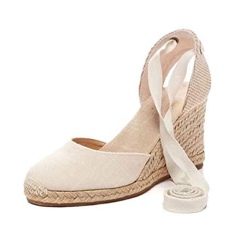Tomwell Sandalias Mujer Cuña Alpargatas Moda Bohemias Romanas Sandals Rivet Playa Verano Tacon Zapatos A Beige 35 EU