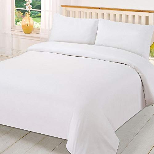 Brentfords Plain Dye Duvet Quilt Cover with Pillow Cases Bedding Set - White, King