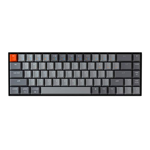 Keychron K6 Bluetooth Wireless/Wired USB Gaming Mechanical Keyboard with Gateron Brown Switch/LED Backlit/Rechargeable Battery, Compact 68 Key Keyboard for Mac Windows