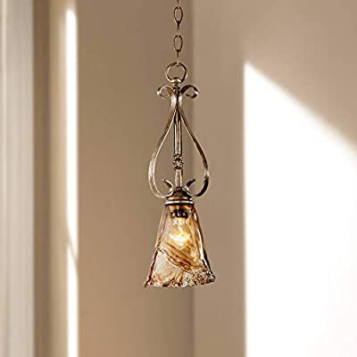 """Amber Scroll Golden Bronze Silver Mini Pendant Light 6"""" Wide Rustic Art Glass Fixture for Kitchen Island Dining Room - Franklin Iron Works"""