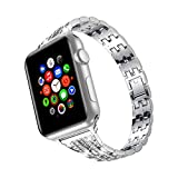 wootfairy Bling Diamond Bands for Women Compatible with Apple Watch Band 38mm 40mm 42mm 44mm iWatch Series 6 5 4 3 2 1 SE Women Dressy Shiny Stainless Steel Wristband Strap, Silver, 42mm/44mm