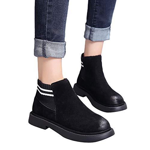OSYARD Damen Kurze Boots Ankle Stiefeletten Vintage Loafers Pumps Low-Top Shoes, Frauen Runde Toe Schuhe Flache Booties Slip-On Wildleder Einfarbig Stiefel(240/39, Schwarz)