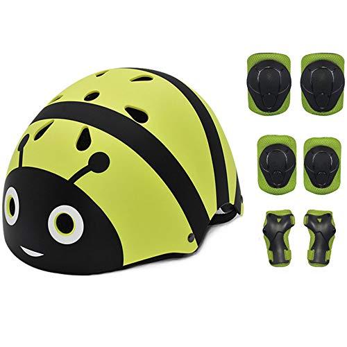 ZZSG Kinder Helm Skateboard BMX Fahrrad Sport-Helm for Jungs Mädchen Damen/Herren, Helm für Skates 7PCS Knieschoner Ellenbogenschoner Handgelenkschutz HelmSchutzset Skateboard,M