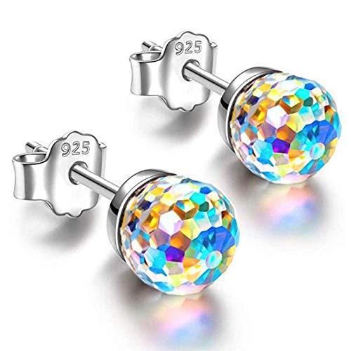 CXWK 6 / 8mm Coloridos Diamantes de imitación Bola Oreja joyería Mujeres niñas Simples Pendientes Multicolores Cristal Encantador