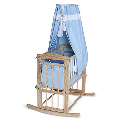 dibea BB0430, Babybett (Himmelbett aus Holz), Kinderwiege mit Kufen & Rollen, Set mit Bettdecke/Kopfkissen & Himmel, Liegefläche 80x40 cm (blau)