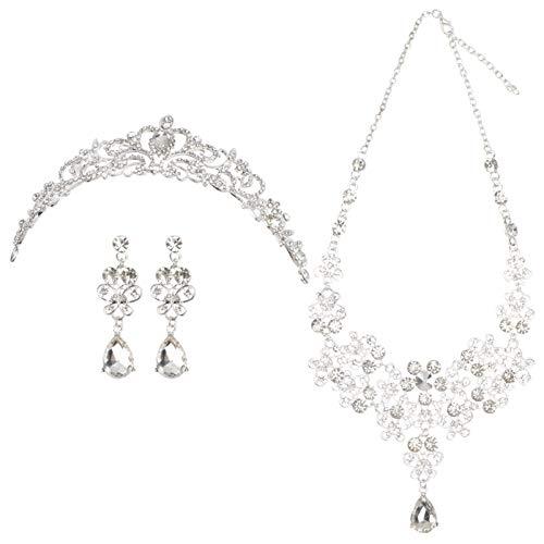 SOIMISS Conjuntos de Joyería Nupcial de Cristal Collar Pendientes Tiara Corona Diadema...