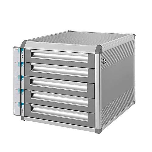 Speichermodul Moderne Locking Mobile File Cabinet 5-Fach-Aluminium-Legierung Office Desktop Speicherschrank Desktop-Organizer Box für Büro, Home Office ( Color : Silver , Size : 31.5x35x29.8CM )