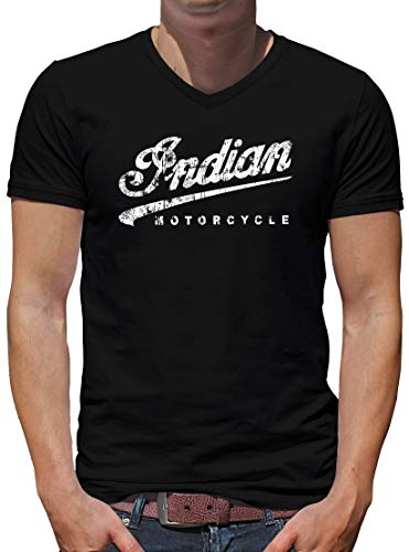 TShirt-People Indian Motorcycle - Camiseta para hombre con cuello en V Negro L