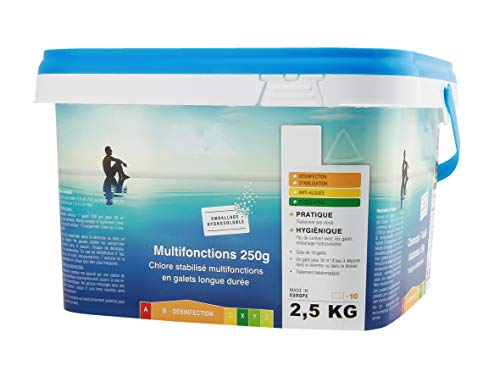 EDENEA Chlore Piscine Multi Fonctions Longue Durée - Seau 2,5 kg - Galets 250g sous Sachet Individuel Hydrosoluble - sans Contact - Traitement Permanent Piscine
