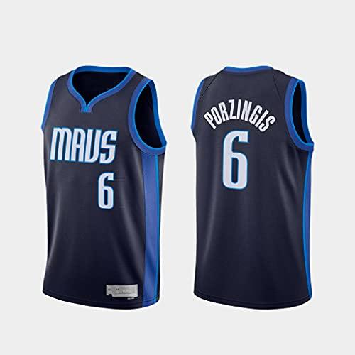 GLACX Ropa De Baloncesto De Los Hombres Dallas Mavericks 6# Porzingis New Bordado De Moda Sin Mangas Chaleco Camiseta Unisex,L