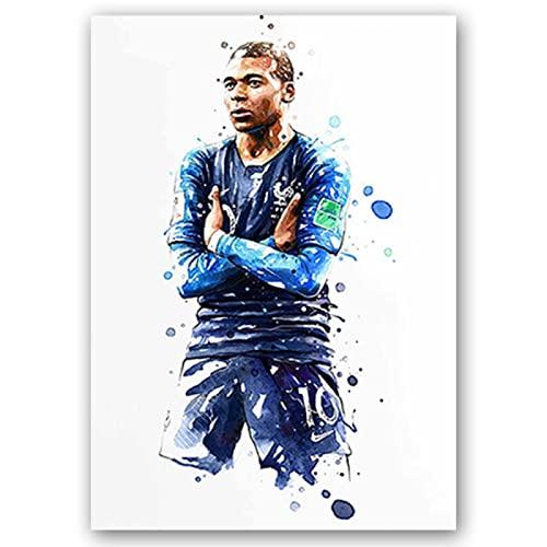 BJEWJUJTYJ carteles e impresiones de estrellas de fútbol figuras lienzo pintura acuarela arte de pared para sala de estar decoración del hogar 50 * 70 cm 3