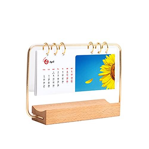LLCOP 2022 Solid Wood Wrought Iron Stand Desk Calendar, 2022 Diy Creative Metal Wooden Calendar Photo Making Gift Decoration