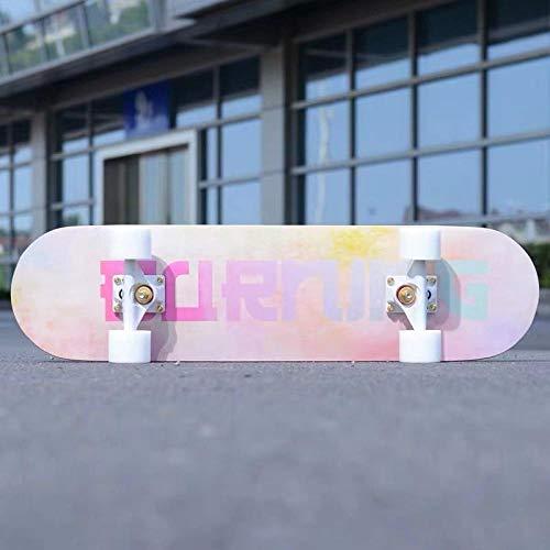 YSCYLY Tabla Skate,Scooter de Cuatro Ruedas con Placa Profesional de Doble deformación,para NiñOs Adultos, Principiantes, NiñAs, NiñOs