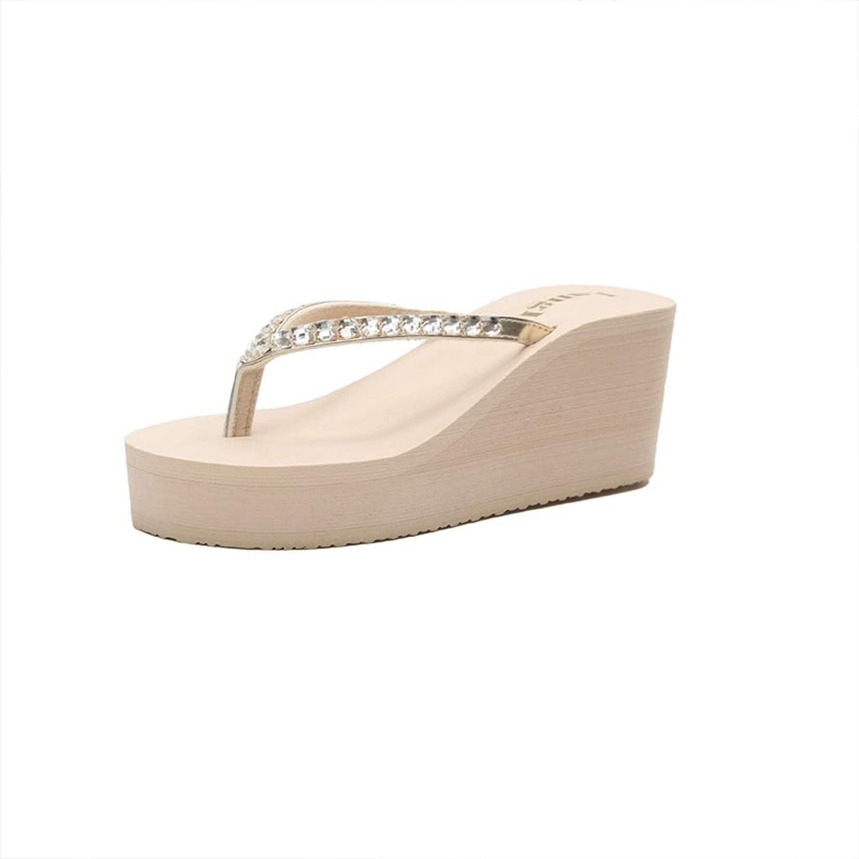 Non-slip Beach shoes, High-heeled Flip-flops, Female Summer Sandals, Sandals, Rhinestones, Thick Soles