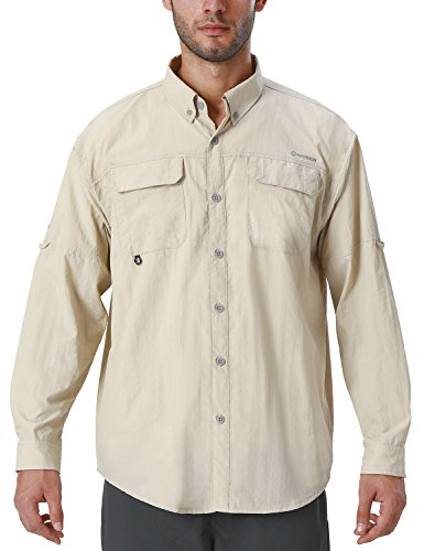 Naviskin Men's UPF 50+ Sun Protection Outdoor Long Sleeve Shirt Lightweight Quick-Dry Cooling Fishing Shirts Khaki Size XL