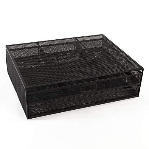 Soporte de monitor de malla | Soporte de dos cajones para pantallas de PC y portátiles | 2 cajones de almacenamiento | Diseño de malla | Pukkr