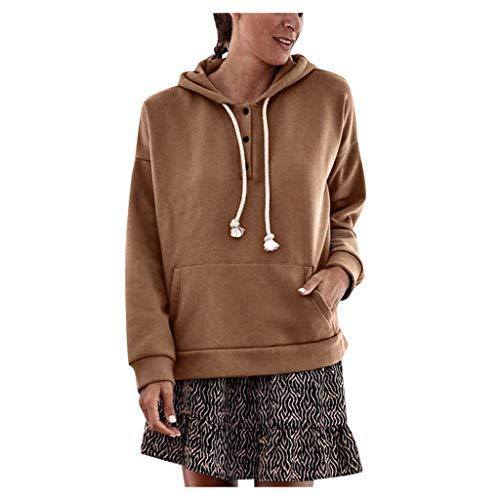 Dasongff - Sudadera con capucha para mujer, cuello en V, con cordón y bolsillo, estilo informal