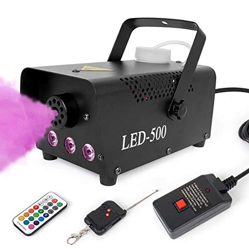 lotmusic Fog Machine,Smoke Machine Fog with Lights Wireless Remote Control 13 Colorful LED Light Effects for Holidays Parties Weddings Christmas Halloween Lotmusic