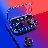 Putars ブルートゥースヘッドフォンブルートゥース5.0ヘッドフォンインイヤー3Dノイズキャンセリングイヤホンワイヤレスヘッドフォンポータブル充電ケース付きヘッドセットジムランニングライディング