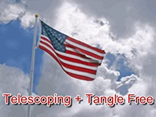 21 FT Heavy Duty Tapered Telescoping Silver Aluminum Tangle Free No Furl Residential Flagpole WindStrong - 2.5 Inch Butt Made in The USA 5 Year Warranty and 3x5 Embroidered and Sewn US Nylon Flag