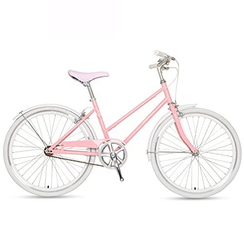 MIAOYO Ultralight Bicicleta De Trekking,Bicicletas Híbridas Urbanas De Carretera De Cercanías para Las Mujeres Masculino,Velocidad única Bicicleta De Carretera(Doble V-Freno),Rosado,24