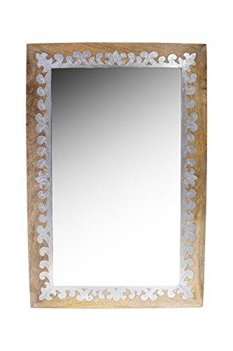Orient Spiegel Wandspiegel Abid 90cm groß Natur Braun | Großer Marokkanischer Flurspiegel mit Holzrahmen orientalisch verziert | Orientalischer Vintage Badspiegel ohne Beleuchtung,Orientalische Deko