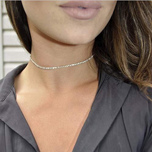 Collar Estilo Simple Perla Cadena De Cuentas Gargantilla CollarHoja De Cristal Borla Collar para Mujeres Moda Joyería Sexual Accesorios De Baile Oro