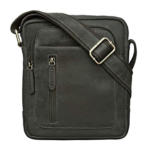 STILORD 'Jamie' Herren Ledertasche Umhängetasche klein Vintage Messenger Bag Herrenhandtasche für 9.7 Zoll iPad Moderne Leder Schultertasche für Männer, Farbe:Oliv - braun