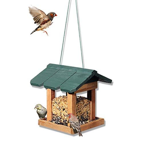 ZhuFengshop Wild Bird Feeder Green – Grote tuin van hout – voederstation voor vogels, vinken, tuin, buitengebruik