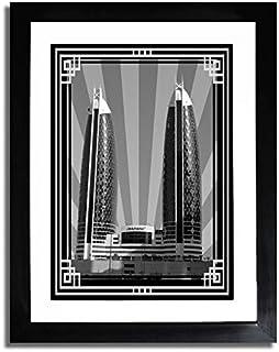 صورة برج الدماك - أسود وأبيض مع إطار فضي بدون نص F07-M (A4)