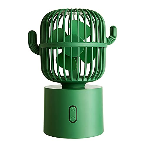 Ventilador Eléctrico Multifunción USB, Cactus Sacudiendo La Cabeza, Pequeña Ventiladora Eléctrica Portátil para La Oficina En Casa En La Montaña Phoenix, Adecuada para La Familia,Verde