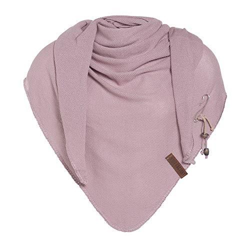 Knit Factory - Lola Dreieckstuch - Fein Gestrickter Damen Schal - Tuch Schal - Für Frühling und Sommer - Baumwollmix - Alt Rosa