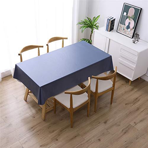 XDKS Mantel rectangular, resistente al agua de poliéster, cubierta de mesa suave para cocina, comedor, mesa de picnic al aire libre (140 x 180 cm), azul marino