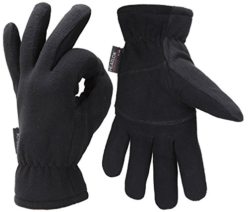 Fantastic Zone Men Winter Gloves, -20°F Cold Proof Thermal Gloves, Deerskin Suede Leather Palm and Polar Fleece Back with Heatlok Insulated Cotton...
