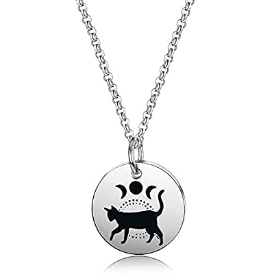Moon Phase Witchcraft Black Cat Necklace Launar Phase Necklace (silver necklace)