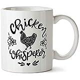 Taza de café de 325 ml con texto en inglés 'Chicken Lover Lover Gift Mom Whisperer'