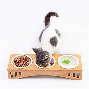 Petilleur Bol Céramique pour Chat et Chien Gamelle Haute pour Chat et Petit Chien avec Support en Bambou