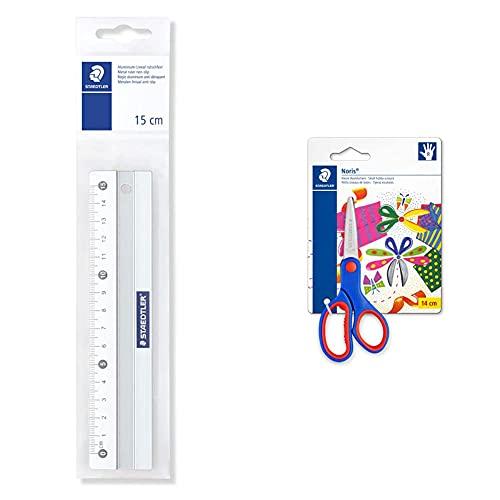 STAEDTLER 563 15 Regla de metal 15cm + Noris Club 965 14NBK Tijeras para niños diestros de 14 centímetros.
