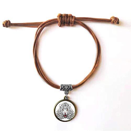 DIYthinker Pulseira de couro com corda de couro Rei Close-up com cabeça de tigre marrom joia presente