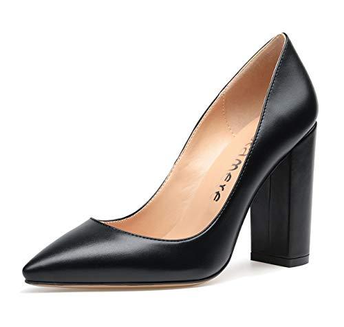 CASTAMERE Damen High Heels Spitzen Zehen Blockabsatz Pumps 10CM PU Schwarz Schuhe EU 38.5