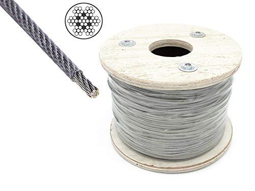 Cable de acero inoxidable de 4 mm sobre 5 mm recubierto de PCV 7x7 medio blando [250m en rollo] V4A AISI 316 Carga de rotura (BL): 910kg HEAVYTOOL®.