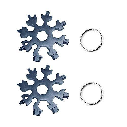 18-in-1in acciaio INOX multifunzione, Leegoal Snowflake portatile portachiavi Edc multi-purpose Compact Pocket Tool–Kit di riparazione, cacciavite, apribottiglie