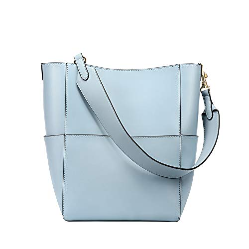 Kattee Hobo Bags for Women, Genuine Leather Tote Purses and Handbags Shoulder Bucket Bags(Light Blue)