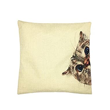YOUR SMILE Cat Cotton Linen Square Decorative Throw Pillow Case Cushion Cover 18x18 Inch(44CM44CM) (Color#0)