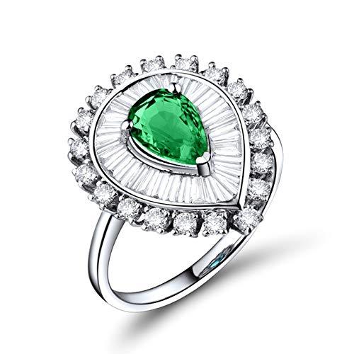 AnazoZ Anillos Mujer Plata Esmeralda,Anillos de Compromiso Mujer Oro Blanco 18 Kilates Plata Verde Gota de Agua Esmeralda Verde 0.96ct Diamante 1.37ct Talla 21