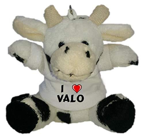 Preisvergleich Produktbild SHOPZEUS Plüsch Kuh Schlüsselhalter mit T-Shirt mit Aufschrift Ich Liebe Valo (Vorname / Zuname / Spitzname)