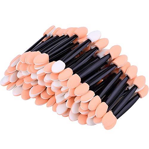 eBoot - Lot de 100 pinceaux jetables pour ombre à paupières des yeux, double face, éponge avec pointe, applicateur de maquillage ovale