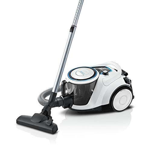 Bosch Staubsauger beutellos Serie 6 BGC41LSIL, Bodenstaubsauger, ideal für Allergiker, Hygiene-Filter, für Parkett, Teppich, Fliesen, leise, langes Kabel, Polster-Düse, weiß
