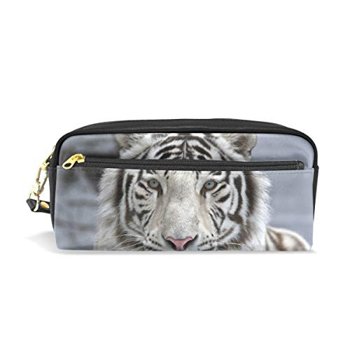 Lápiz Bolsa Bolso Estuche Bolsa Hipster blanco Bengala Tigre Maquillaje Cosmético para niñas Niños Escuela de viaje