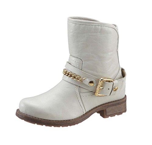 ARIZONA Damen-Stiefelette Boots mit Zierkette offwhite (38 EU)
